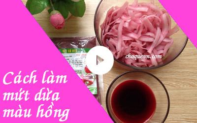 Cách làm mứt dừa màu hồng củ dền [vieo]