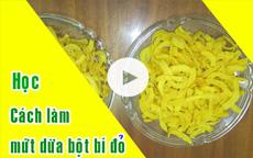 Cách làm mứt dừa màu vàng bột bí đỏ [video]